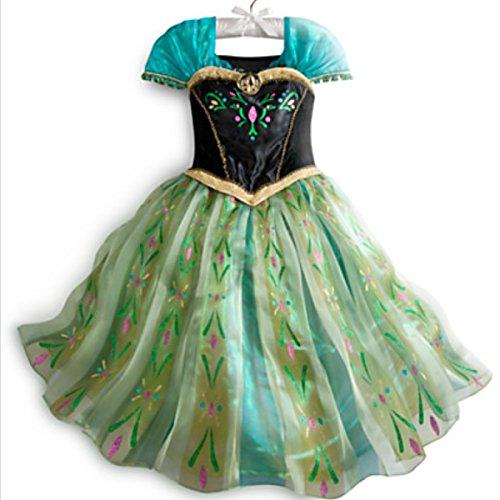 en Anna Kostüm Kleid Fever Erwachsene Dress Prinzessin Grün (L) (Frozen Fever Kostüme)