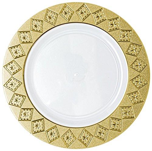 Decorline- Vaisselle de luxe à usage unique -Assiette à dîner 26 cm couleur Blanc /Or en plastique jetable - Collection Imperial -Party -10 Pièces