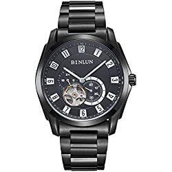 BINLUN Mens Skeleton Automatic Mechanical Watch Black Stainless Steel Bracelet Tourbillon Watches for Men with Synthetic Sapphire Crystal, GMT 24 Hour Waterproof Strong Luminous