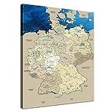 LANA KK Deutschlandkarte Leinwandbild mit Korkrückwand zum pinnen der Reiseziele Deutsch Kunstdruck, blaues Meer, 40 x 60 cm