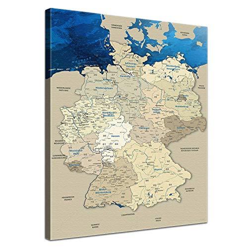 LANA KK Deutschlandkarte Leinwandbild mit Korkrückwand zum pinnen der Reiseziele Deutsch Kunstdruck, blaues Meer, 70 x 100 cm