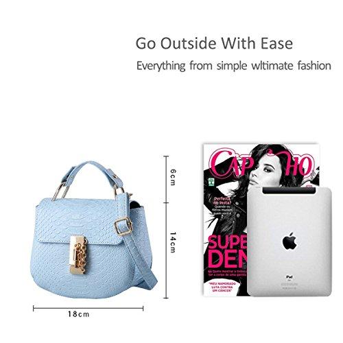 NICOLE&DORIS Ragazze carine borsa a tracolla alla moda borsa del messaggero di Crossbody della maniglia Borsa multiuso PU cielo blu cielo blu