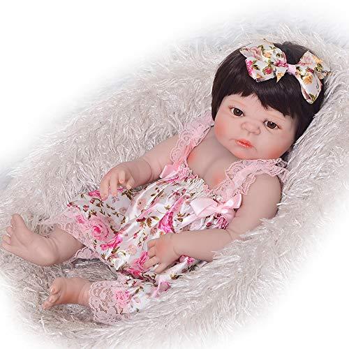 Bambolotti Bambole,Realistici 23''Doll Reborn Babies Corpo in silicone pieno Vinile Principessa per bambini Compagni di gioco Giocattoli per bambini Regali per ragazza alla moda, Occhi marroni