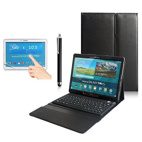 Preisvergleich Produktbild BORIYUAN Leder Case mit Bluetooth Tastatur Silikon Qwertz (Schwarz, Samsung Galaxy Tab S 10.5 T800 WiFi T805)