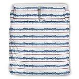 O1FHW-8 Muster Grafik Streifen Bettwäsche Set Hypoallergen 3-teilig Bettbezüge - Weiche Mikrofaser Boho Tagesdecke White 168x229cm