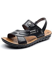 SHANGXIAN Pantuflas y flip flops de hombre Confort Zapatos de cuero Casual Tacón plano Luz Marrón amarillo negro Caminar , yellow , 41