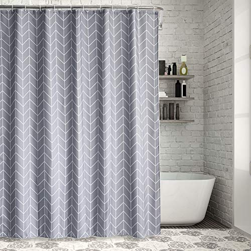 Aneco wasserdichte Duschvorhänge Set Polyester Stoff Duschvorhänge mit verstärkten Knopflöchern und 12 Stück Vorhanghaken für Badezimmer Duschen, Stände und Badewannen, Farbe C, 72 x 72 Inches (Badezimmer-duschen-stände)