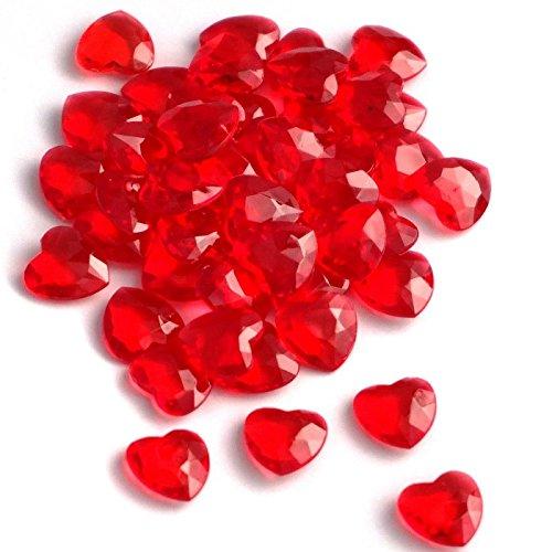SiDeSo® Dekosteine Herzdiamanten Herzen 100 Stück viele Farben Acryl Tischdeko Streudeko Hochzeit (rot)