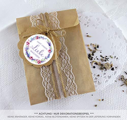 BLÜTEN SAMEN TÜTEN SET 24 Sticker LASST UNSERE LIEBE WACHSEN MOHNBLUME LAVENDEL LILA ROT GRÜN KRANZ Ø 4cm matt + 24 Flachbeutel braun 130 x 95 + 16 mm • Hochzeit Taufe Blüten Gastgeschenk Deko (Wachsen Lavendel)