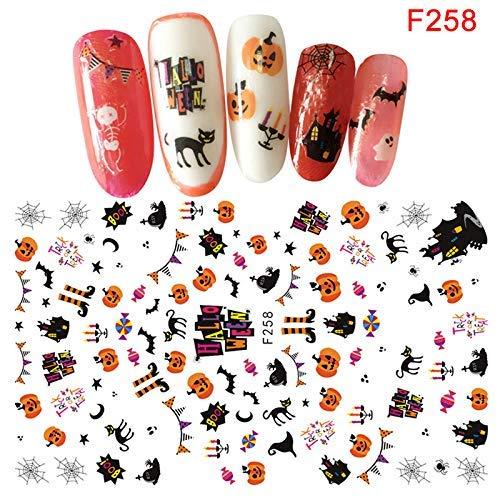 Dastrues Halloween Nagelsticker Nail Art Sticker Sebstklebend Damen DIY Maniküre Halloween Spitzen Dekoration Sticker - F258 (Disney Dekorationen Halloween)