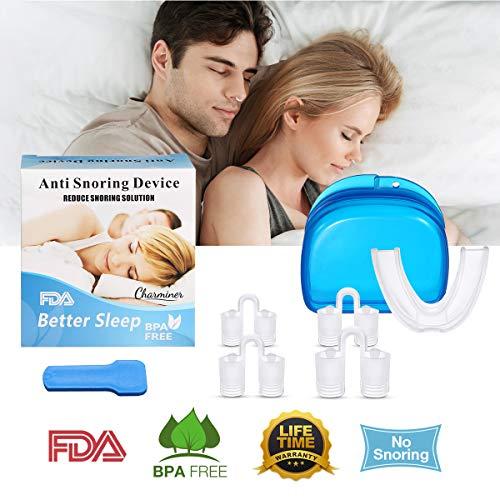 Dispositivo anti russamento, Charminer Dilatatore nasale e Bite dentale Antirussamento Automodellante Arcata Inferiore Superiore Silicone Ideale Sbiancamento Denti Trasparente Anti Russamento Apnea
