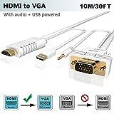 HDMI zu VGA Kabel mit Audio 10M, FOINNEX HDMI auf VGA (D-Sub) Konverter Kabel zum Anschluss von PC, Laptop, DVD, Xbox 360 One,PS4/PS3, TV-Box zu TV, Monitor, Projektor mit 15-Pin VGA Eingang,1080P