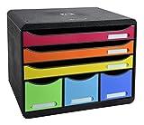 Exacompta Storebox Maxi Harlekin mit 6 Schubladen/Stapelbare Schubladenbox im Querformat für mehr Platz auf dem Schreibtisch in Bunt