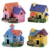 Gosear 4 Piezas Casa de Muñecas Bricolaje/Estilo de Casa Miniatura Pueblo Jardín Fairy Garden Village para Micro Paisaje Terrario Escritorio Hogar Decoración Adornos Accesorios
