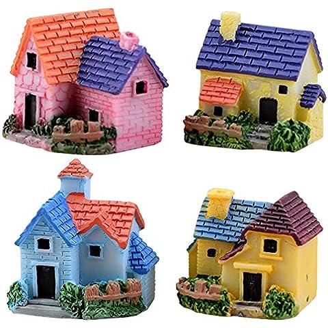 Gosear 4 piezas Casa de Muñecas BRICOLAJE / Estilo de Casa Miniatura Pueblo Jardín Fairy Garden Village para Micro Paisaje Terrario Escritorio Hogar Decoración Adornos Accesorios