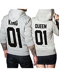King Queen 01 SET 2 Hoodies Pullover Pulli Liebe Love Pärchen Couple Grau / Schwarz