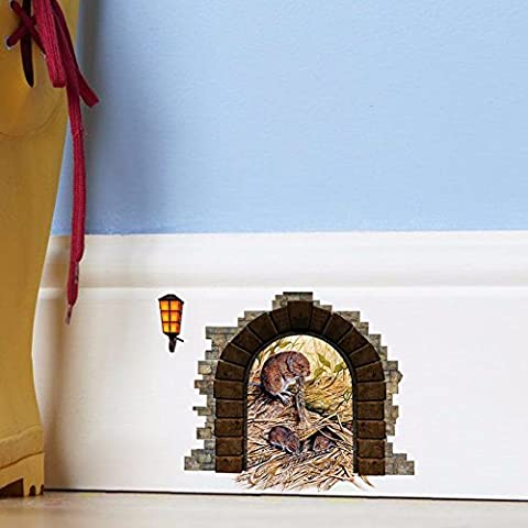 New cute little rat hole bed for children living room wall sticker waterproof removable 13*10cm