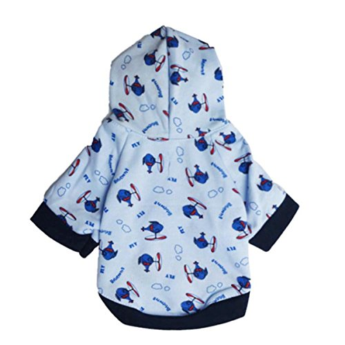 FAIRYRAIN Dog Soft Fashion Fleece Hooded Clothes Cartoon Animal Print Warm Coat Pets Dogs Puppy Cat Warm Sweatshirts Winter T-Shirt M