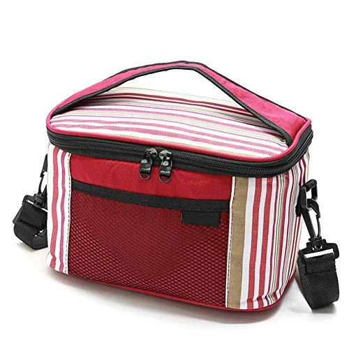 Baiediii borsa termica pranzo impermeabile borsa termica per biberon 5l borsa frigo con tracolla staccabile impacco per la conservazione della bottiglia del pacchetto di consegna a strisce oxford,red