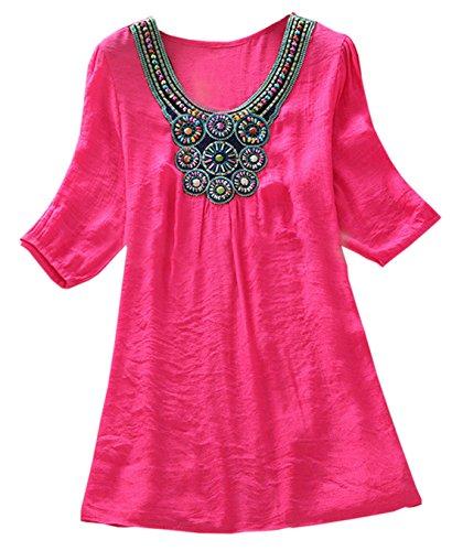 Frauen Sommer Reizvolle Fünfte Hülse Loose Rundkragens T-Shirt Tops Große Größen Setzen Sie Perlen Stickerei Shirt Oberteile Sweatshirt Rosa