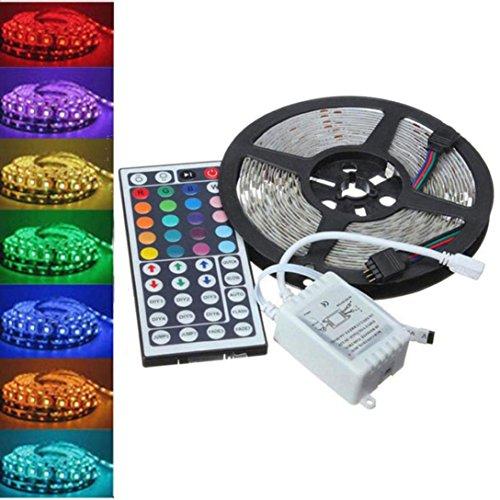 IGEMY Bunter Leben - Haupt LED-Leiste DIY Thema Dekor, 5M RGB 5050 300 LED Streifenlicht SMD 44 Schlüsselferner Voller Installationssatz (Schwarz)