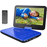 """DBPOWER� 10.5"""" Portable DVD Player, 5 Hour Rechargeable Battery, Swivel Screen, Supports SD Card and USB, Direct Play in Formats AVI/RMVB/MP3/JPEG (10.5, Blue)"""