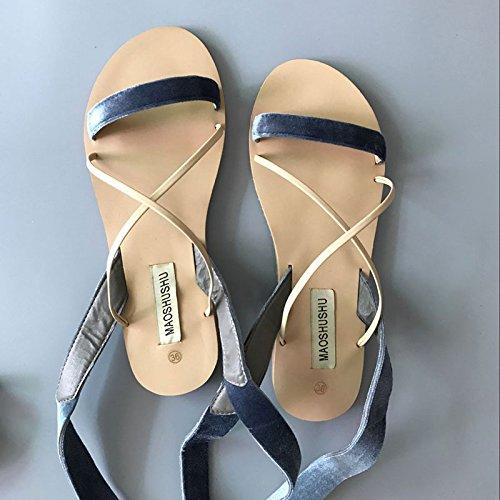 Estate moda donna sandali comodi tacchi alti,35 Rosa Blue