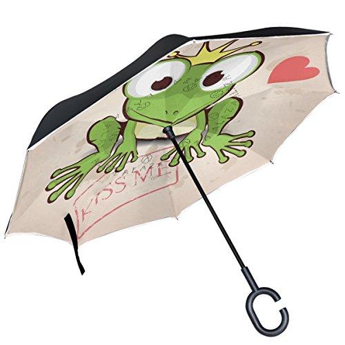 ALAZA Frosch Krone Kiss Love Herz seitenverkehrt Double Layer Winddicht Rückseite Regenschirm -
