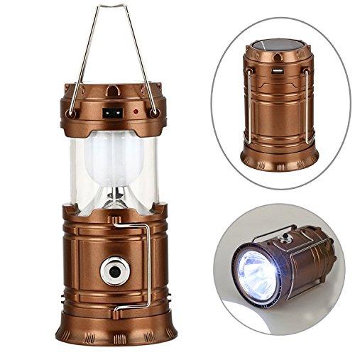 GESIMEI LED Camping Laterne Taschenlampe Wiederaufladbar Solar Lampe Tragbar Hell Zusammenklappbar Beleuchtung für Notfall (Bronze, 1-Pack) (Lampe Tragbare Bronze)