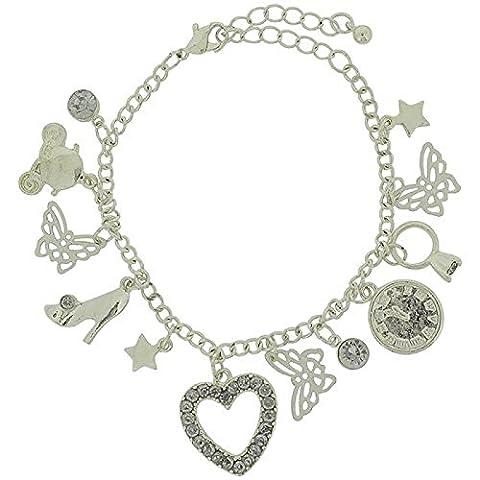 Disney Cinderella Fairytale Mädchen-Charm-Armband, silberfarben, mehrfarbig, FJ1585 6 cm