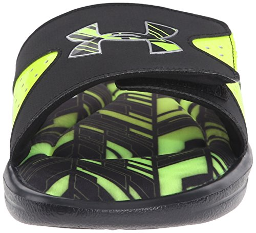 Under Armour Mens Ignite Banshee II Slide Black/High-vis Yellow/Metallic Silver