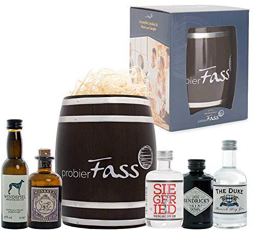 Gin-Set mit 5 beliebten Gin Spezialitäten im Fass (3x50ml und 2x40ml) | Das perfekte Gin-Geschenkset | Tasting-Set