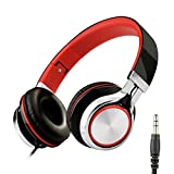 Honstek Kids Over Ear Headphones 3.5 mm Audio Jack (Schwarz/Rot)