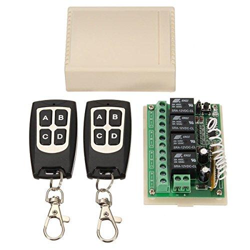 Ochoos 12 V 4 Kanal 433 Mhz Kabelloser Fernbedienungsschalter integrierter Schaltkreis mit 2 Sendern DIY Ersatzteile Werkzeug Kits