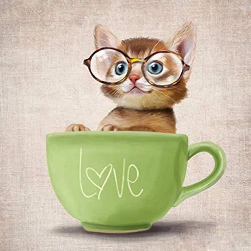 Lhyxh Diamant malen eine Katze mit Brille Vollbohrer Mosaik DIY Kreuzstich Stickerei Startseite dekorative Handwerk