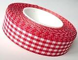 SCHLEIFENBAND 25m x 25mm Vichy KAROBAND rot - weiß DEKOBAND Geschenkband VICHYKARO kariert ohne Draht
