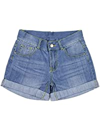 Bienzoe Moda Stretchy algodón mezclilla Shorts para niña