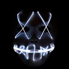 Coxeer Halloween Mask LED Mask Horrible Light up Party Mask for Cosplay