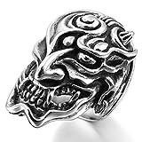 MunkiMix Grande Gran Acero Inoxidable Anillo Ring El Tono De Plata Negro Diablo Cráneo Calavera Hueco Filigree Filigrana Abierto Talla Tamaño 30 Hombre