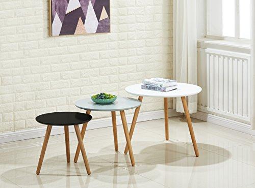 P&n homewares, set di tavolini laccati lucidi, colore grigio, bianco e nero, in stile moderno scandinavo