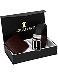 Creature Combo Of Brown Color Wallet For Men & Black-Brown Reversible Belt For Men(BL-024-WL-034)