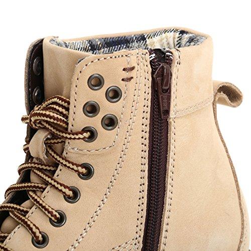 MARINA SEVAL by Scarpe&Scarpe - Scarponcini con collarino imbottito e cerniera laterale, in Pelle Beige