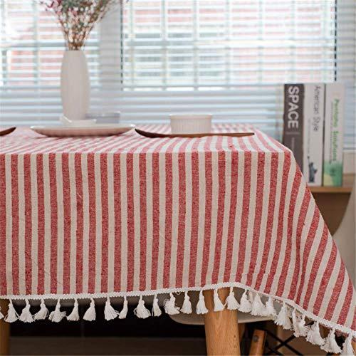 SONGHJ Baumwolle Leinen Bunte Quaste Tischdecken Rechteck weiße Tischdecke Home Küche Party Dekorationen Tischdecken Tischdecke C 90x90cm