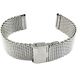MapofBeauty Mesh Stainless Steel Bracelet Wrist Watch Band Strap Silver Clasp-24mm