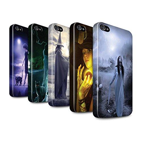 Officiel Elena Dudina Coque / Clipser Brillant Etui pour Apple iPhone 4/4S / Pack 6pcs Design / Magie Noire Collection Pack 6pcs