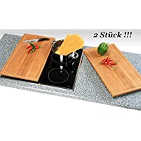 2 Stück Neustanlo® Schneide- und Abdeckplatte Ceranfeldabdeckung Bambusholz Holz je 50x28 cm