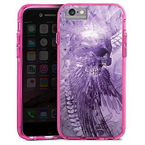 Apple iPhone 6s Plus Bumper Hülle Bumper Case Glitzer Hülle Skull Totenkopf Lila Bumper Case transparent pink