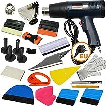 Ehdis® 16 Tipos de Car Vinyl Wrap Tool Kit de Tinte de Ventana para Auto Tinting Set de Película Aplicación Instalación o Extracción con Pantalla LCD Heat Gun