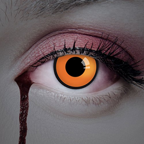 Lenti a contatto colorate The Orange da Aricona - coprendo anni lenti per gli occhi chiari e scuri, senza ricetta, lenti colorate di carnevale, feste a tema e costumi di