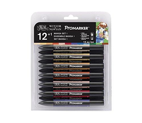 Winsor & Newton 0290051 ProMarker (Manga Extension Pack 1, Professioneller Layoutmarker - 2 Spitzen, fein und breit für Zeichnungen, Design und Layouts) 12 Farben - Set